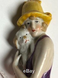 German 3,75 Antique Porcelaine Moitié 1/2 Poupée Tenant Puppy Dog # 14940 Violet #s