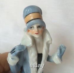 Glam Lady Coussin Pin Top Demi Poupée En Porcelaine Allemagne Fasold Style Vtg Japon