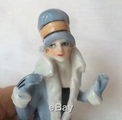 Glam Lady Fur Top Coussin Demi-poupée Porcelaine Allemagne Fasold Style Vtg Japon