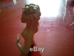 Grande Demi-poupée En Biscuit Polychrome Antique En Porcelaine