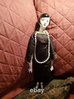 Grande Figurine De Poupée Flapper 20's Vtg Art Déco Porcelain Bisque & Cloth 20's Flapper