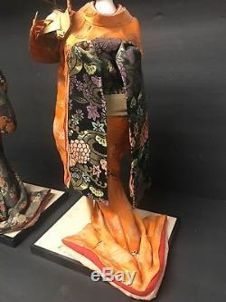 Japonaise (deux) Geisha Doll Statue Porcelaine Vintage