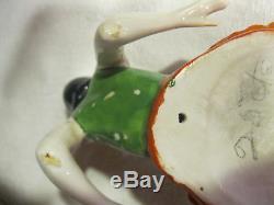 La Demi-poupée De Poupée De Porcelaine De L'art Déco Vintage Allemand Vers Le Haut De Vanité De Boîte De Poudre