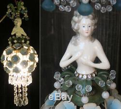 Lady Doll Français Hydrangea Ombre Robe Lampe Swag Vintage Cristal Laiton Porcelaine