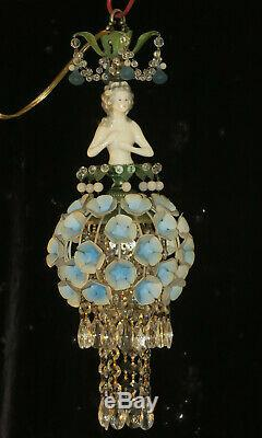 Lady Doll French Hortensia Robe Abat-jour Lampe Swag Vintage Porcelaine Laiton Cristal