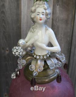 Lady Doll French Robe Abat-jour Rose Lampe Swag Vintage Porcelaine Laiton Déco Cristal