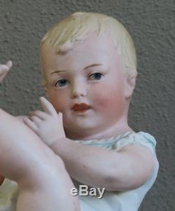 Lg Gebruder Heubach Bisque Porcelaine Piano Bébé Poupée Figurine Antique Vintage Mr