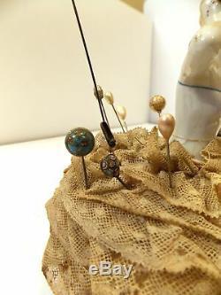 Lot De 10 + Antique & Vintage, Plus Allemand Porcelaine Épingles À Chapeau Demi Doll Pincushion