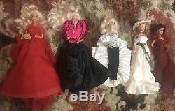 Lot De 5 Poupées Barbier Vintage Avec (1) Cristal De Rhapsody En Porcelaine De Barbie
