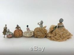 Lot De 6 Allemand Antique Porcelaine Pelote Moitié Poupées Avec Les Jambes