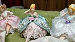 Lot De 6 Poupées Anciennes Porcelaine Vintage Rare