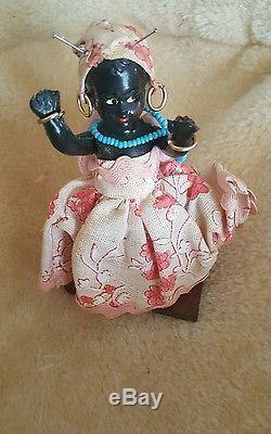 Lot De Poupées Articulées Vintage En Porcelaine Noire Americana De 5 Poupées 1930-1950