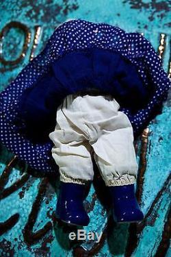 Main Rare Vintage Peint Porcelaine Kewpie Doll Delft Blue & White