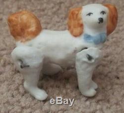 Miniature Antique Allemand Articulé Bisque Chien Dollhouse Poupée Hertwig Porcelaine