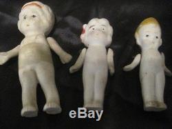 Old 3 Bisque Porcelaine Vintage 3-3,5 Pouces Poupées Fabriqué Au Japon, Bras Articulés
