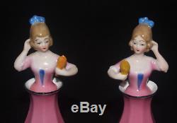 Paire Vintage Bouteille De Parfum Figural Art Deco En Porcelaine Demi Poupée Bavière