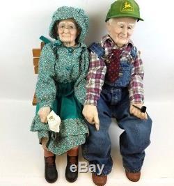 Papy Grandma Porcelain Dolls Oshkosh Salopette John Deere Chapeau Vintage Rare