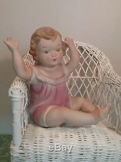 Piano Victorienne Vintage Bébé 7,25 Poupée Antique En Porcelaine Bisque Art Noveau