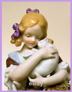 Pinceau De Porcelaine Vintage Allemand Moitié Poupée Liquidation Fille Tenant Chat