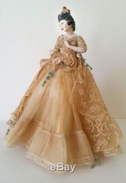 Pinceau Vintage En Porcelaine Allemande Demi Poupée Liquidation Femme Avec Lorgnette