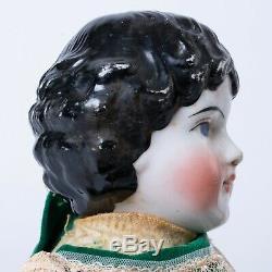 Porcelaine Allemande Antique Head Doll Tissu Body Cuir Mains Pieds 20 Robe Verte