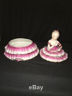 Pot De Poudre Victorien Vintage De Lady Half Doll Art Déco Porcelaine Fille Coffret Cadeau