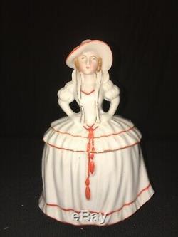 Pot Vintage Vanity Poudre Lady Victorienne Porcelaine Figurine Art Déco Demi-poupée