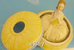 Poudrier Boîte Vintage 1/2 Moitié Lady Doll Vanity Soleil Jaune Porcelaine