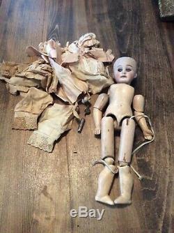 Poupée Antique 12 Jumeaux Bebe, Tête En Porcelaine G2, Corps En Bois 3/0 Vtg