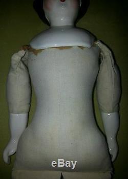 Poupée Antique Originale Rare Porcelaine Allemande 14 1/2 Plus De 100 Ans Grand Old