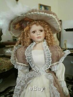 Poupée Ashley Belle De Style Victorien Vintage Grande Porcelaine Bisgue 36 Pouces