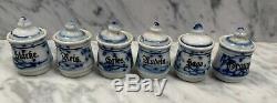 Poupée Cuisine Allemande Antique Maison Miniature En Porcelaine Set Blue Onion Canister