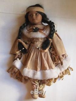 Poupée De Tête De Porcelaine Indienne Amérindienne Vintage Tête De Bras De Velours