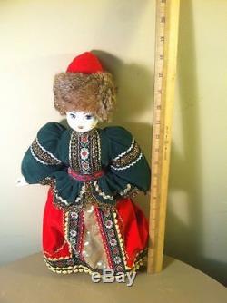 Poupée En Porcelaine Peinte À La Main Russe Vintage, 18 Grands, Chapeau De Vison Réel