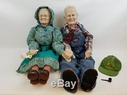 Poupée Grand-mère Poupées En Porcelaine Oshkosh Salopette John Deere Chapeau Vintage Rare