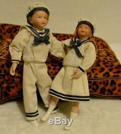Poupée Miniature En Porcelaine Sailor Dollhouse 112 Garçon Fille Paire Nautique Vintage