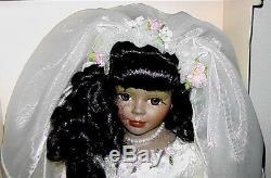 Poupée Noire De Collection De Mariées Afro-américaine Vintage Porcelaine Rare Bisque