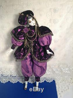 Poupée Vintage En Porcelaine Pourpre Royal Jester De La Nouvelle-orléans Du Début Des Années 1990