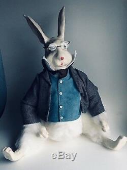 Poupée Vintage Lapin Blanc Alice Au Pays Des Merveilles Céramique Tête & Mains, Vrais Vêtements