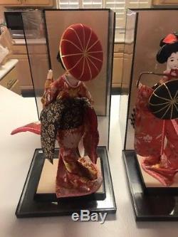 Poupées Vintage Geisha Japonaises Avec Visage En Porcelaine Et Kimono Floral
