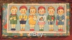 Rare 1930 Vintage Japonais Bisque Porcelaine 6 Sextuplet Poupées Fille Fille Boîte Japon