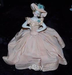 Rare Exquis Antique Porcelaine Demi Doll Allemande Peach Robe En Soie Coussin Mint