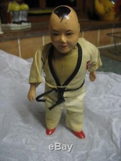 Rare Inconnu Japon Chine Judo Karate Vintage Antique Doll Porcelaine Jouet