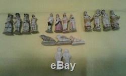 Rare Lot (17) Anciennes Porcelaine Bisque Colonial Miniatures Allemand