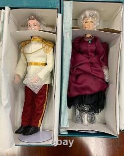 Rare Nouvel Ensemble Complet Cendrillon Disney 19 Etc Porcelain Dolls Coa Vintage Le