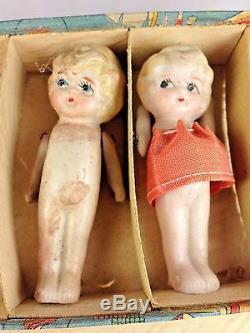 Rare Vintage Japonais Bisque Porcelaine (6) Sextuplet Poupées Original Box Japon