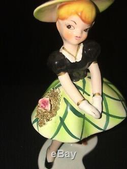 Rare Vintage Lefton Mlle Dainty Porcelaine Figurine Monnaie Fille Poupée Rétro Vieux Chien