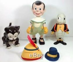 Rare Vintage Pinocchio De Disney, Figaro Les Poupées De Porcelaine Cat & Jiminy Cricket