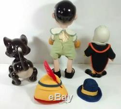 Rare Vintage Pinocchio, Figaro, Le Chat Et Les Poupées En Porcelaine De Cricket De Jiminy