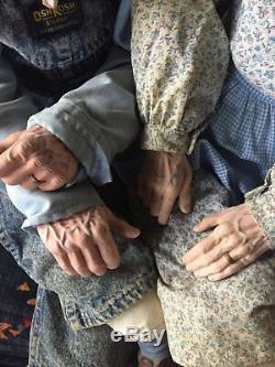 Rare Vtg William Wallace Jr Ensemble De Poupées Vieil Homme Femme Couple Grands-parents 1994
